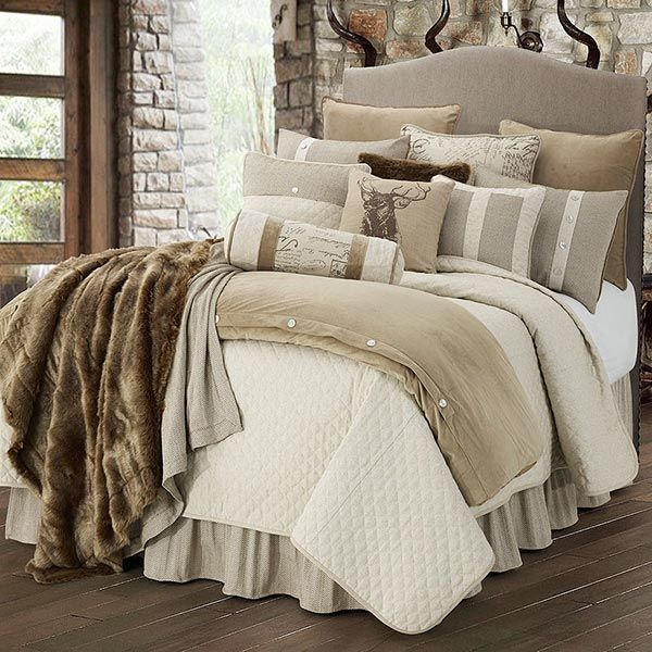 The Fairfield Lodge Bedding Set will add a luxurious mixture of simplistic contemporary design and rustic charm to your bedroom, from Indeed Decor.