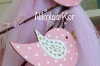 Λαμπάδα με ξύλινα πουλάκια σε ροζ αποχρώσεις
