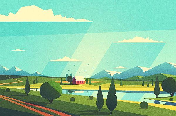 Vector Landscapes on Behance