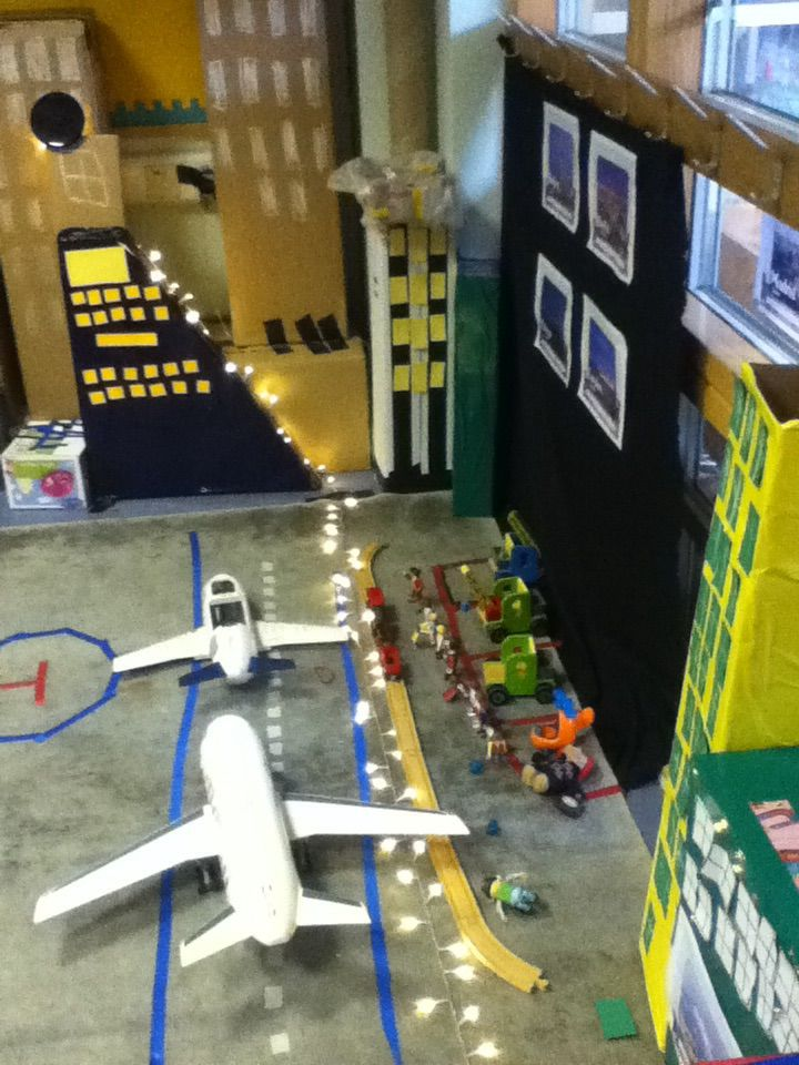 Airport and city, reception class role play area. Includes a hospital and police station. An area to keep on adding to!
