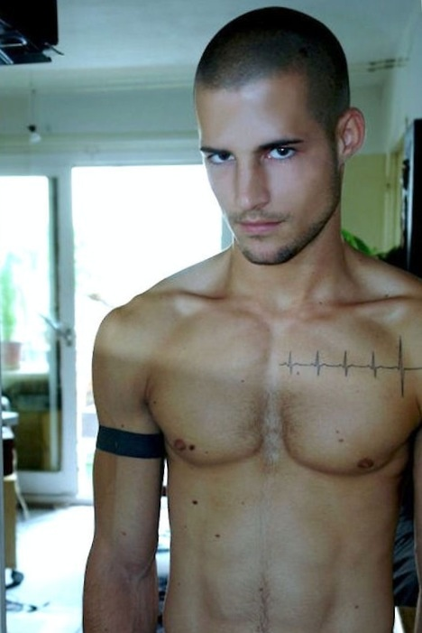 Heart beat tattoo. Love this. Get it of your husbands heart beat.