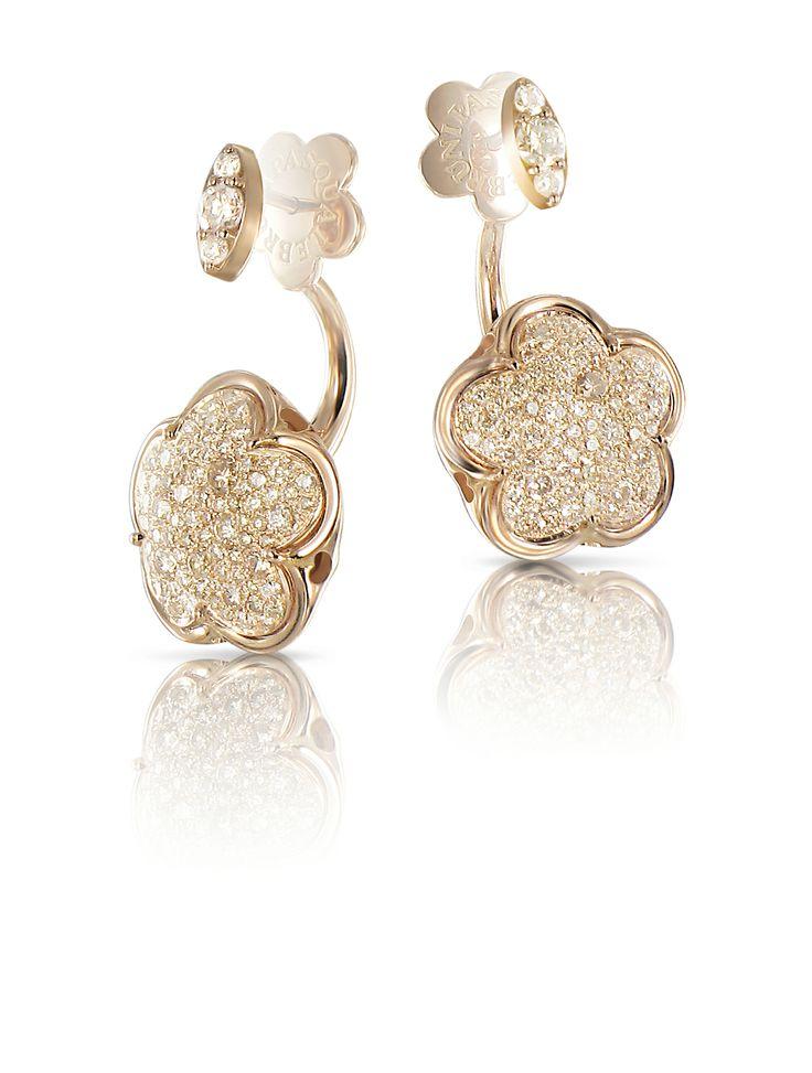 Bon ton earrings Brown and white diamonds