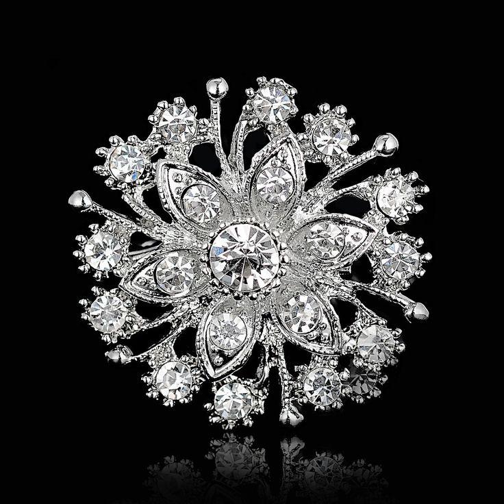 Broches para o casamento Bijoux casamento Broches moda Vintage mulheres Rhinestone broche Crystal Clear flores de prata Broches pinos em Broches de Jóias no AliExpress.com | Alibaba Group