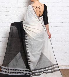 Black & White Hand Woven Khadi Cotton Dhakai Jamdani Saree