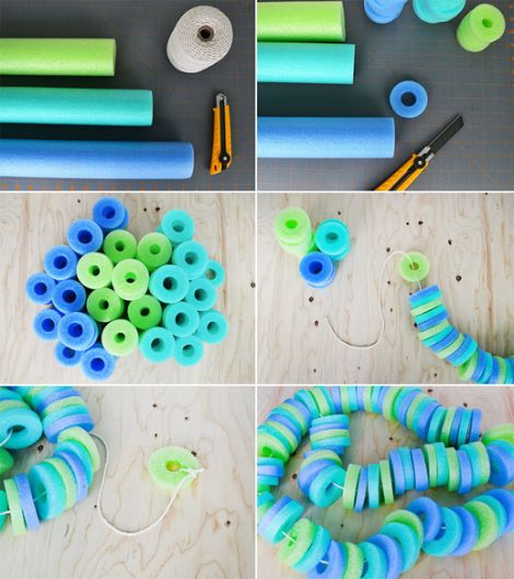 DIY pool noodle garland: Diy'S Pools, Pool Noodles, Pools Noodles, Noodles Garlands, Summer Party, Outdoor Party, Party Idea, Pools Party, Birthday Party