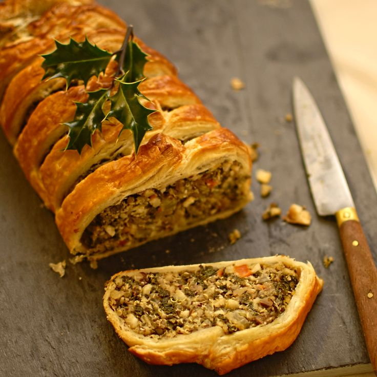 A delicious vegetarian alternative Christmas dinner - kale, quinoa and nut roast en croute