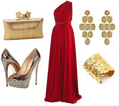 Stunning red Grecian-style dress with gold Black tie wedding attire