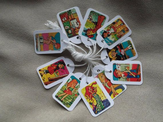 (C1) Set of 10 white mini tags with vintage by PelusasFactory on Etsy, $4.00
