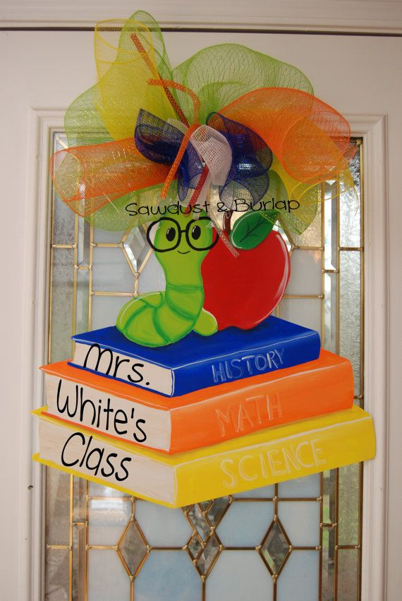 Ready to Personalize Book Worm Door HangerBack by SawdustandBurlap