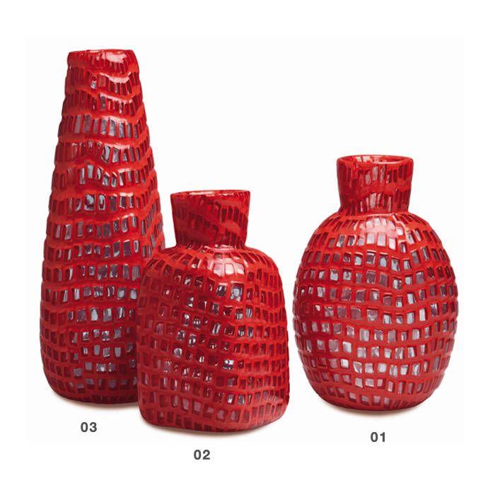 Vasi in vetro soffiato, lavorato a mano, con la tecnica delle Murrine.