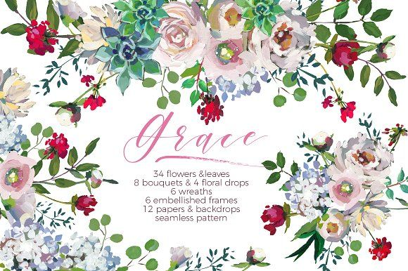 Grace-Floral Design Collection by whiteheartdesign on @creativemarket