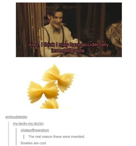 Headcanon accepted. Everytime I eat pasta I request for the bowties.