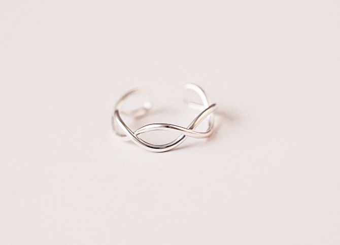 925 Sterling Silver Twisted Ring,Simple Adjustable Ring