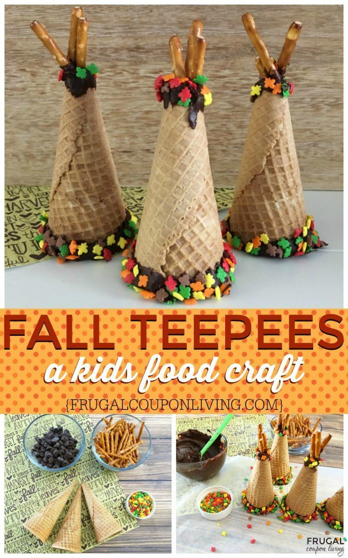Fall Ice Cream Cone Teepees on Frugal Coupon Living. A fun fall food craft or use when studying Native Americans in school. We love these as a kids thanksgiving table idea.