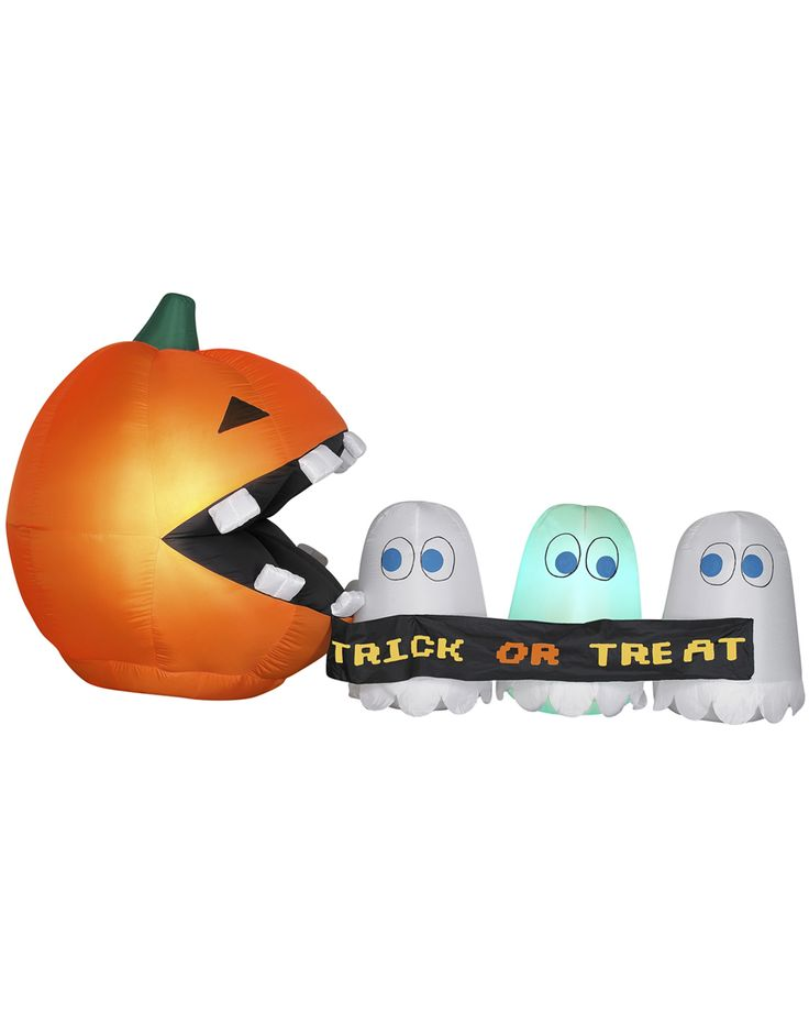 inflatable pac man pumpkin and ghosts yard decoration