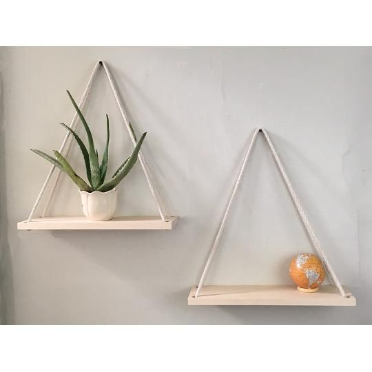 Solid Maple Hanging Shelves, Handmade- Set of 2, Cotton Rope, Planters – Wood an…