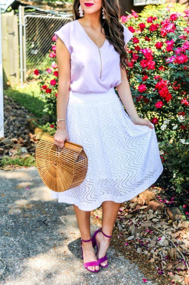 Lilac Blouse and White Eyelet Midi Skirt. Spring Outfits. Spring Dressy Outfit. Spring Skirt. White Skirt for Spring. White Skirt for Summer. Pastel colors for Spring. Blouse and Skirt Style.