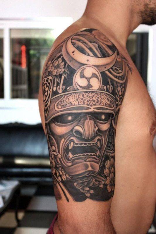 Samurai Helmet Tattoo, artist unknown