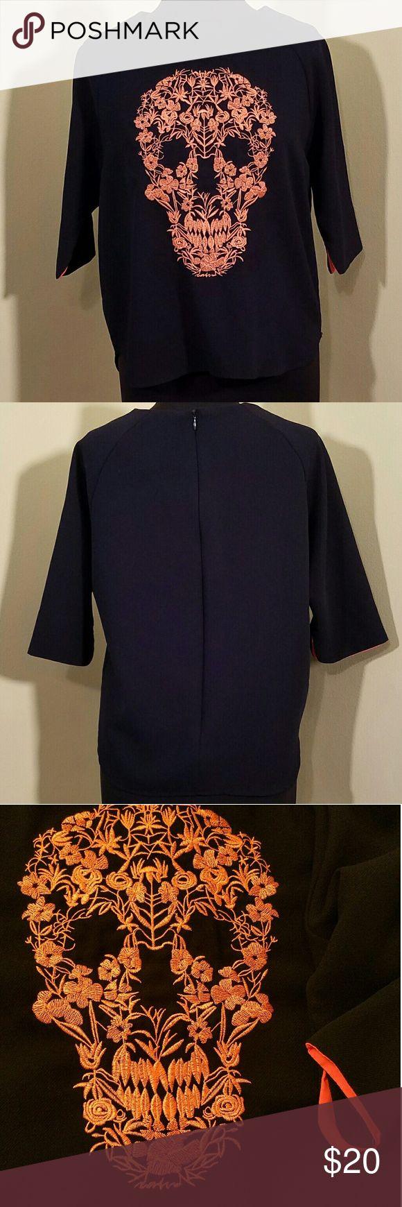 Navy 3/4 Shirt w/Orange Sugar Skull, Small Navy and orange sugar skull, 3/4 sleeve, zipper back shirt. spicy color Tops Blouses