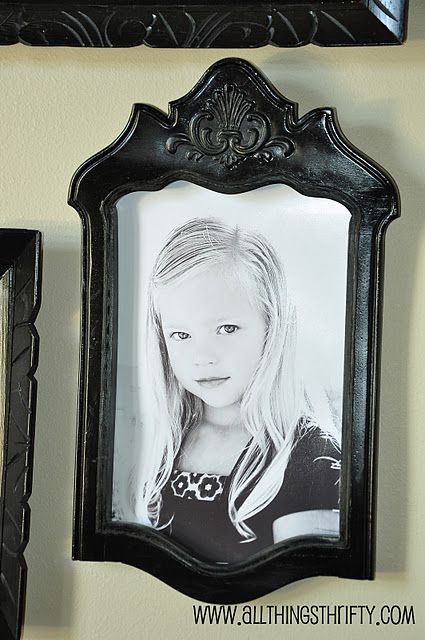 Make a Picture frame from the back of an old chair. Click to see...