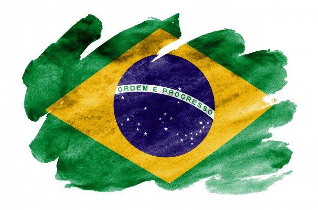 Bandeira Do Brasil E Retratada No Estilo Aquarela Liquido Isolado No Branco Bandeira Do Brasil Pintura De Bandeira Brasil