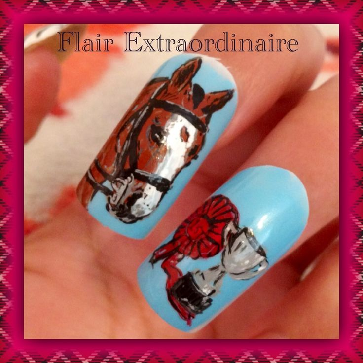 Hand painted horse nail art using acrylic paint