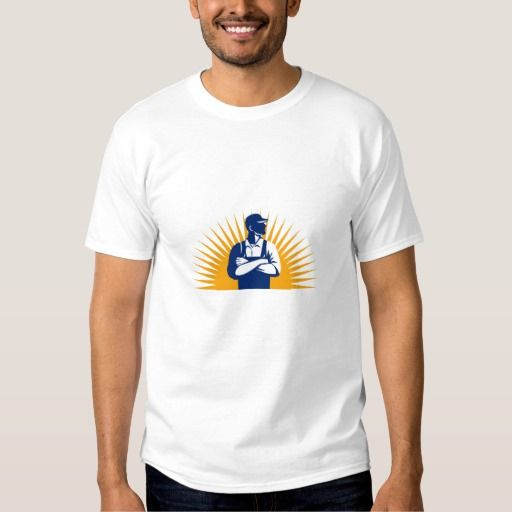 Organic Farmer Arms Folded Looking Side Sunburst R Shirt. Illustration of an organic farmer wearing hat and overalls arms folded looking to the side viewed from front with sunburst in the background done in retro style. #Illustration #OrganicFarmerArmsFolded