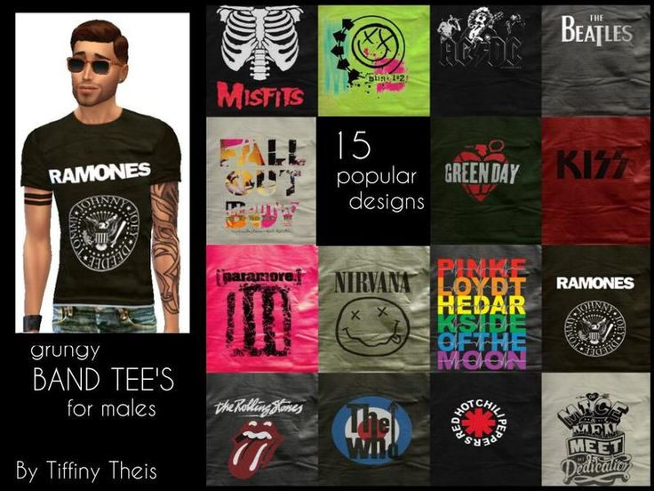 15 of the most popular band merch tee shirts!  Found in TSR Category 'Sims 4 Male Everyday'