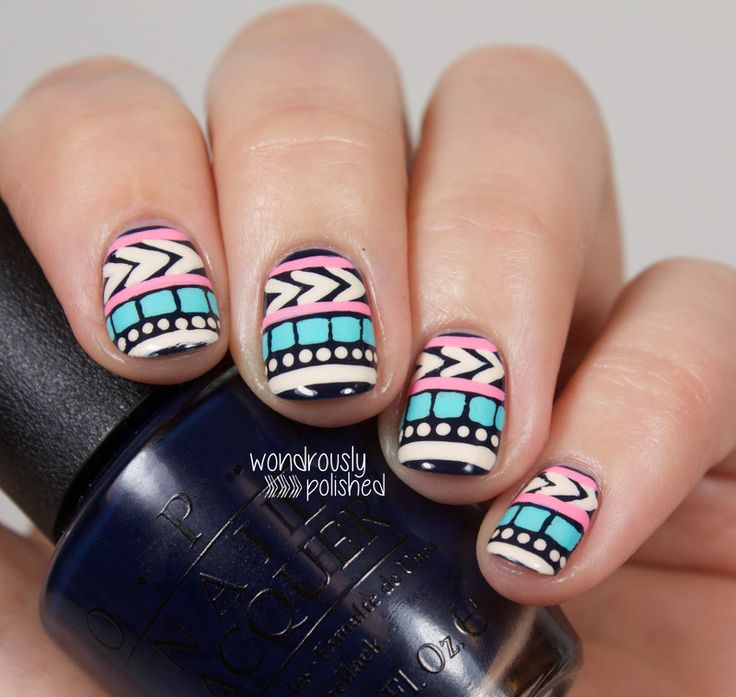 Deb Shops - Mani Monday: Pastel Tribal Print