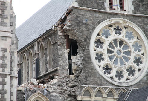 The Rose Window of ChristChurch Cathedral is framed by ruined stonework. Photo: Lloyd Ashton