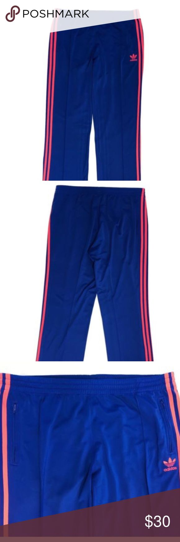 """Adidas Track Pants Trefoil Blue Pink Wide Leg Adidas Women's Track Pants XL Blue Pink Wide Leg Firebird Trefoil Warm Up Sweats  In Excellent Used Condition- no rips, tears, holes- Stored in a clean, smoke free home.  Measurements laying flat- Waist- 18"""" Inseam- 31"""" Rise-12"""" adidas Pants Track Pants & Joggers"""