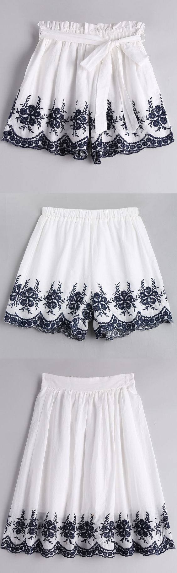 Up to 70% OFF! Floral Embroidered High Waist Belted Shorts. Zaful, zaful.com, bottoms,shorts,shorts outfits,shorts and tights,shorts outfits women,denim,denim shorts,women shorts,high waisted shorts, jean shorts, boyfriend shorts, dressy shorts, ripped jean shorts, womens khaki shorts, cut off jean shorts, knee length shorts,winter outfits,winter fashion,fall outfits,fall fashion, halloween costumes,halloween,halloween outfits. @zaful Extra 10% OFF Code:ZF2017