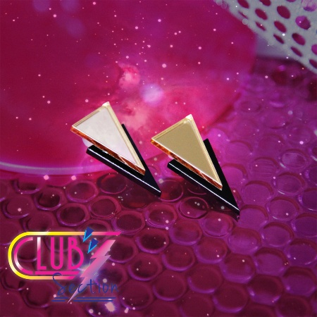 Inspired by all things magical/80s/Pop/Jem & The Holograms - French designer Suzywan has produced the Club Section range of earrings and necklaces.    Apache Earrings in Gold/Black. Silver Sterling stud backs..     The Suzywan collection is the lovechild of French and Swedish culture. The brand was born when Suzanne  (French stylist, artist & designer) put on a necklace with the words GIVE ME A BREAK, and created a line that manifests freedom, empowerment and awesomeness.