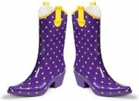 $39.95- Check out these great purple and gold cowboy rain boots from Brandi's Boutique. Find them at http://www.brandisboutiqueshop.com/item_288/PurpleGold-Cowboy-Rain-Boots.htm
