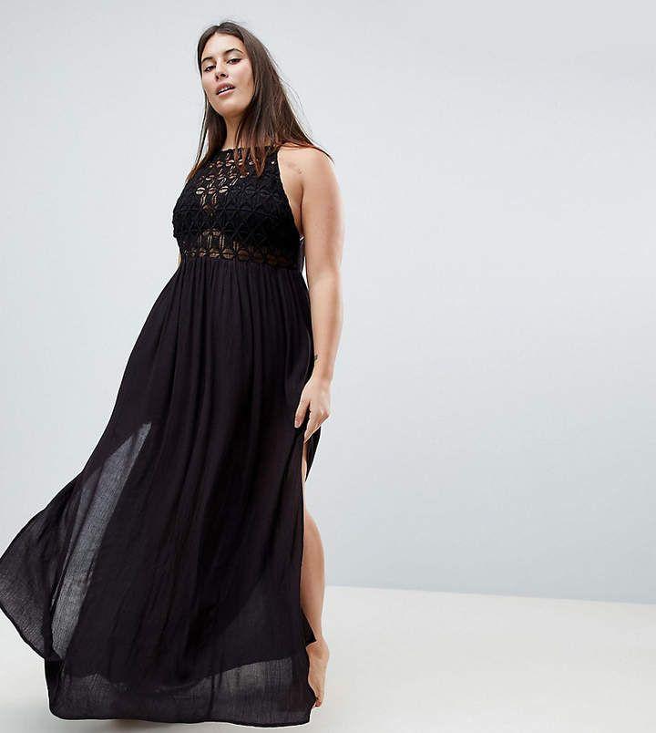 ASOS Curve ASOS CURVE Premium Crochet Panel Maxi Beach Dress