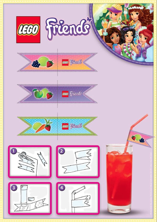 LEGO Friends Party Pieces - Print and cut out these wonderful labels to decorate your straws for your party! There is no easier way to personalize your drink the LEGO way.