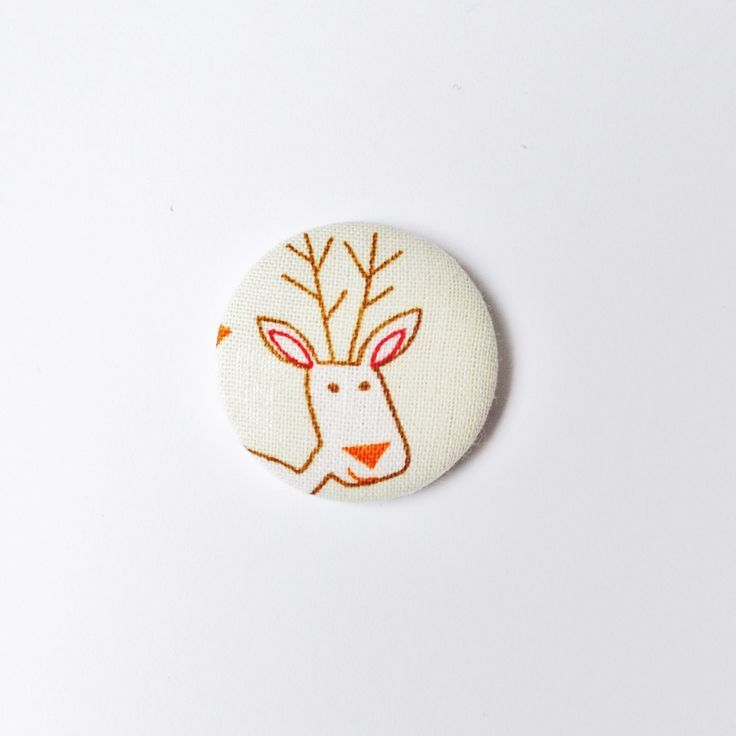 Reindeer Rudolph Christmas Covered Button Badge by jessiejumbles on Etsy