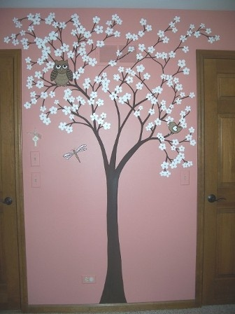 Whimsical cherry blossom tree mural kids rooms murals for Cherry tree mural