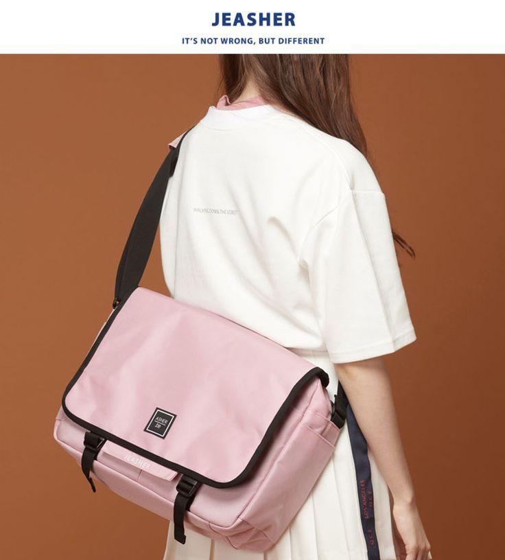 [JEASHER]ジェイアッシャー 韓国 pink ピンク レディース メンズ メッセンジャーバッグ 斜め掛け ショルダーバッグ 通学 通勤 マザーズバッグ(ピンク)