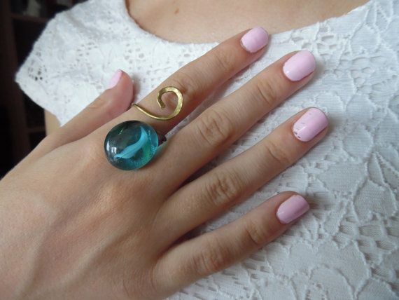 Hey, I found this really awesome Etsy listing at https://www.etsy.com/listing/243453160/gold-ring-brass-ring-turquoise-stone
