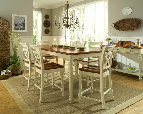 Shabby Chic Kitchens Design, Pictures, Remodel, Decor and Ideas - page 15 (beadboard & low over table chandlear)