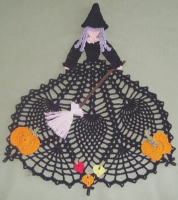 New Hand Crocheted Halloween Doily Witch Afatc | eBay