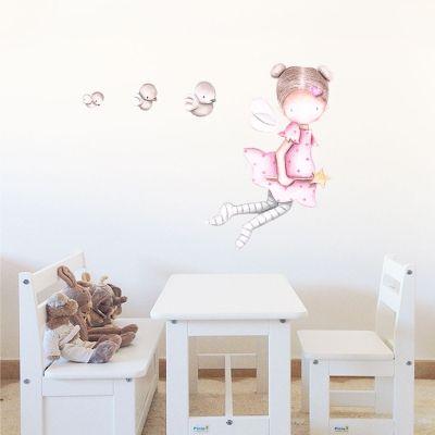 Decoración infantil Il Mondo di Alex, Vinilos - Stickers efecto pintado a mano, HADA VOLANDO... personalizado con nombre y a medida.