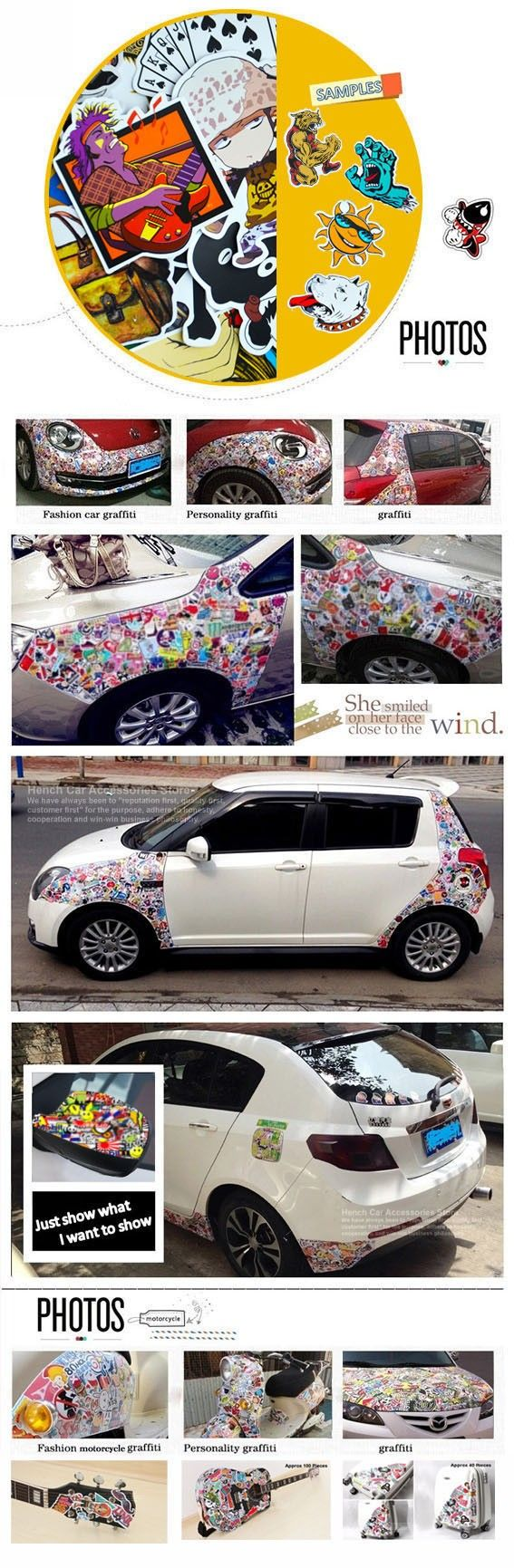 Car club sticker designs - Car Styling Doodle Sticker Bomb Graffiti Skateboard Stickers Snowboard Motorcycle Bicycle Luggage Bags Accessories Guitar Decal