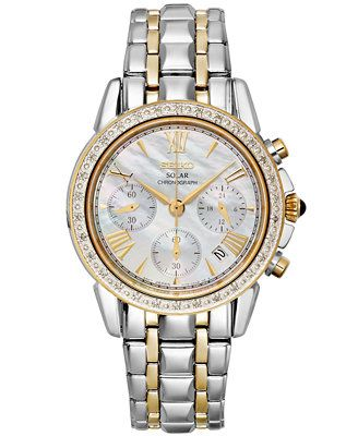 Seiko Watch, Women's Chronograph Solar Diamond Accent Two-Tone Stainless Steel Bracelet 36mm SSC892