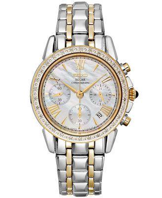 Seiko Watch, Women's Chronograph Solar Diamond Accent Two-Tone Stainless Steel Bracelet 36mm SSC892