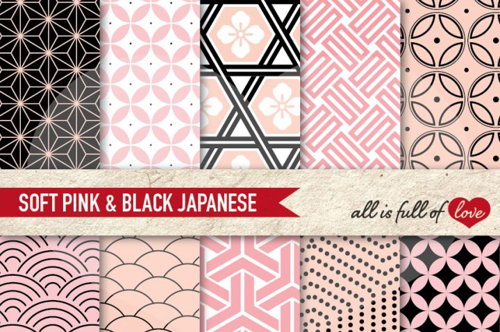 Japanese Background Patterns in Black and pink:: Graphicswith…