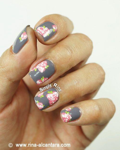 Vintage Pink Roses Nail Art  #Nails www.finditforweddings.com