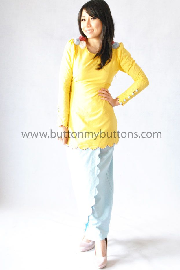 Luna Yellow with Shoulder 3D Flower | Button My Buttons by Shahida Shariff