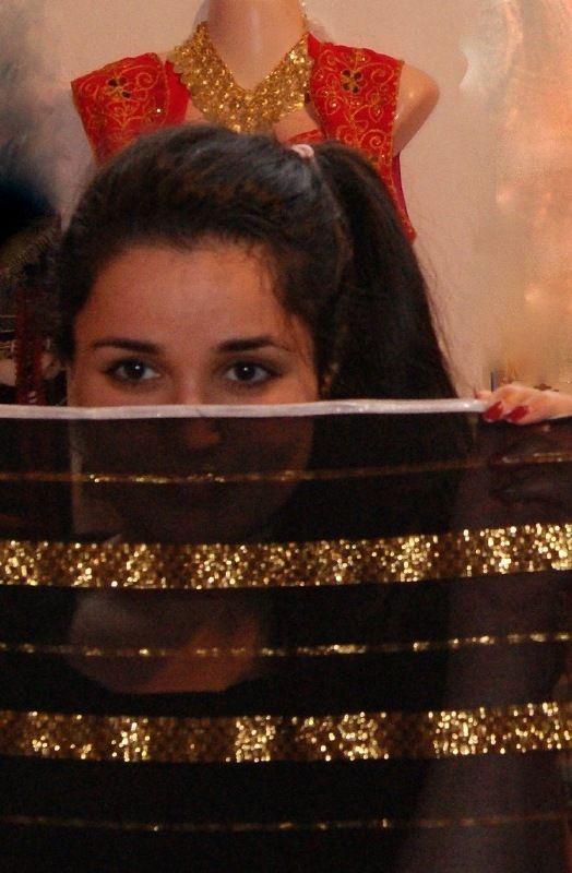 Saidi Sluier Zwart met gouden strepen met zilveren band rand - Saidi veil black with golden stripes silver band rimmed